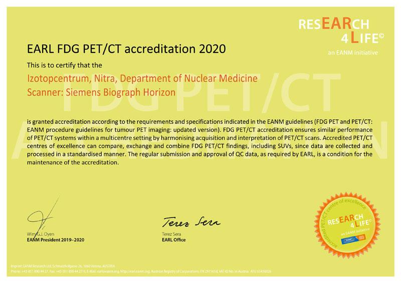 EARL FDG PET/CT accreditation 2020