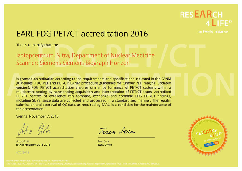 EARL FDG PET/CT accreditation 2016